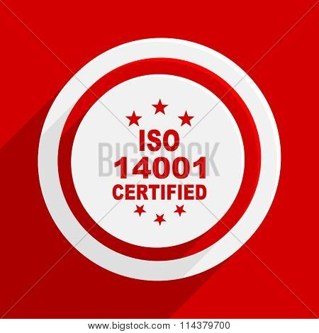 iso 14001 red flat design modern vector icon for web and mobile app