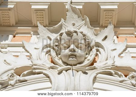 Baroque decoration of the facade of the Roman Catholic church of St. Casimir in Vilnius, Lithuania.