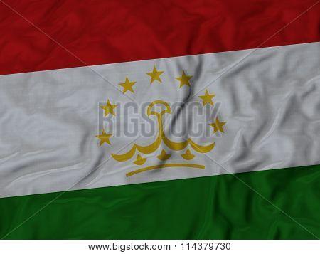 Close Up Of Ruffled Tajikistan Flag