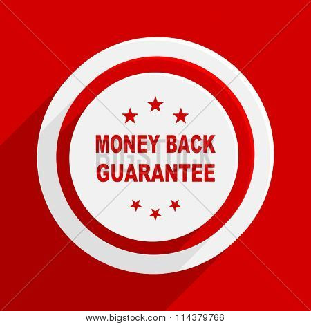 money back guarantee red flat design modern vector icon for web and mobile app