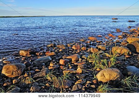 White Sea Shore On A Summer Evening. Karelia, Russia