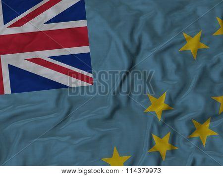 Close Up Of Ruffled Tuvalu Flag