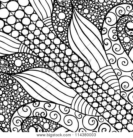 Hand drawn with ink background with doodles flowers circles.