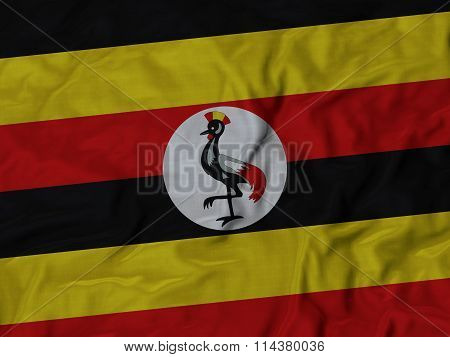 Close Up Of Ruffled Uganda Flag
