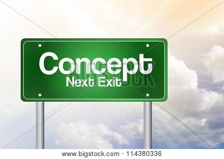 Concept Next Exit Green Road Sign