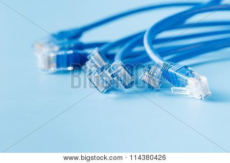 Blue Computer Ethernet Cable On Blue Background