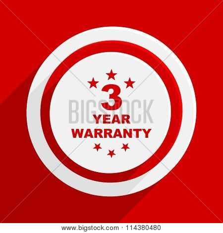 warranty guarantee 3 year red flat design modern vector icon for web and mobile app