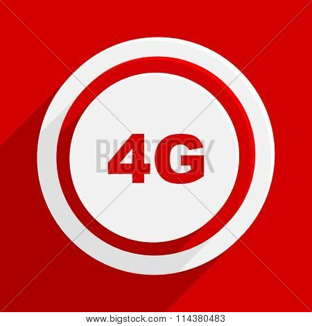 4g red flat design modern vector icon for web and mobile app