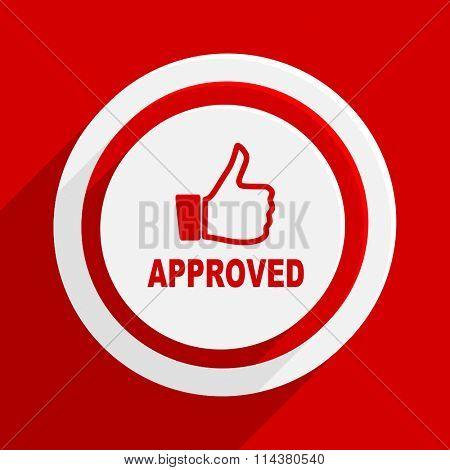 approved red flat design modern vector icon for web and mobile app