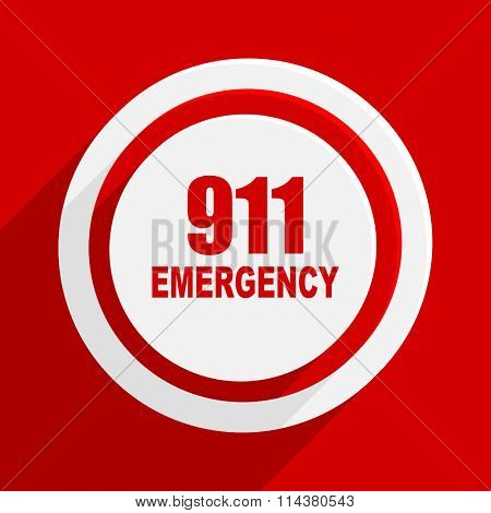 number emergency 911 red flat design modern vector icon for web and mobile app