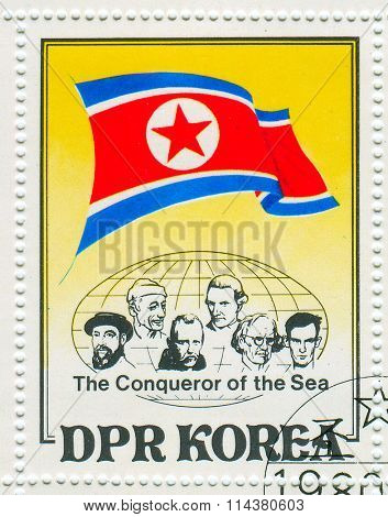 GOMEL,BELARUS - JANUARY 2016: A stamp printed in North Korea shows image of the Conqueror of the Sea, circa 1980.