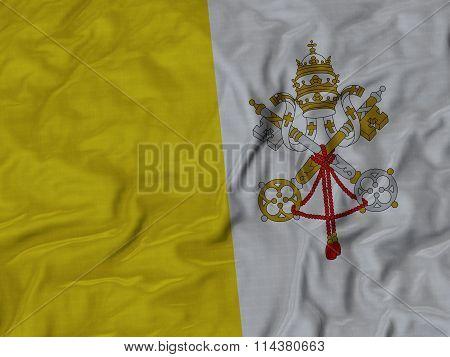 Close Up Of Ruffled Vatican City Flag