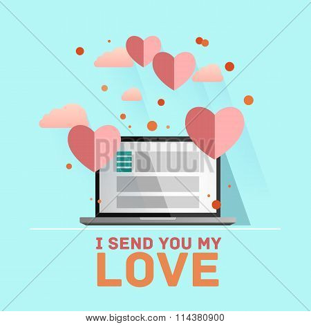 Valentine's day illustration. Receiving or sending love emails for valentines day, long distance rel