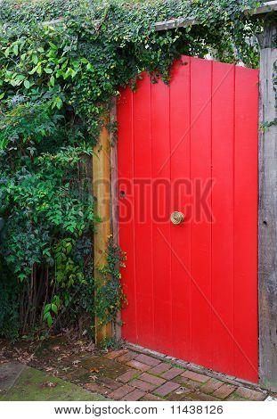 Red Fence Door