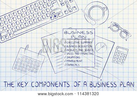 Detailed Business Plan On Office Desk, With Text The Key Component