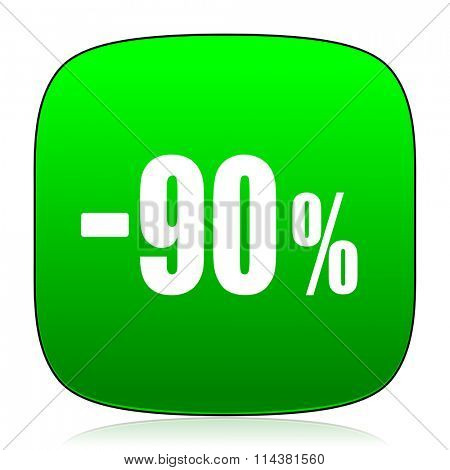 90 percent sale retail green icon for web and mobile app