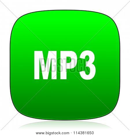 mp3 green icon for web and mobile app