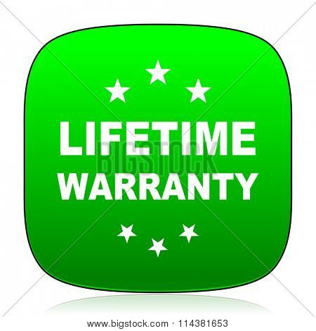 lifetime warranty green icon for web and mobile app