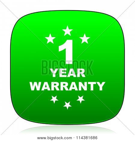 warranty guarantee 1 year green icon for web and mobile app