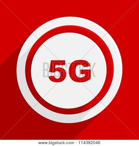 5g red flat design modern vector icon for web and mobile app