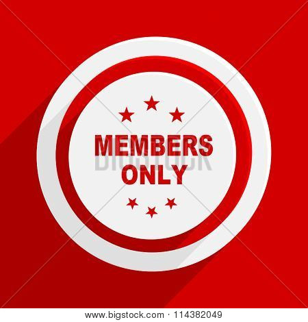 members only red flat design modern vector icon for web and mobile app