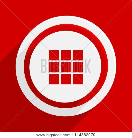 thumbnails grid red flat design modern vector icon for web and mobile app