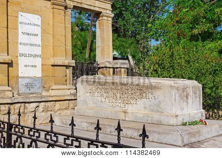 FEODOSIA UKRAINE - SEPTEMBER 06: The tomb of Aivazovsky in Feodosia Crimea Ukraine - the famous Ukrainian and Russian painter od the XIV century.