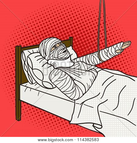 Man with full body orthopedic cast pop art vector