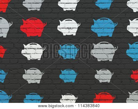 Money concept: Money Box icons on wall background