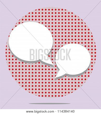 Two Text Balloons In Red Spotted Round On Pink Background