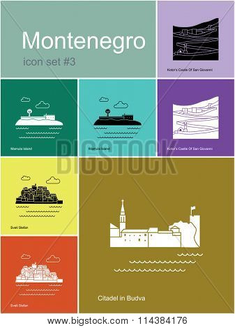 Landmarks of Montenegro. Set of color icons in Metro style. Raster illustration.