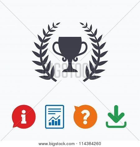 First place cup award icon. Prize for winner.