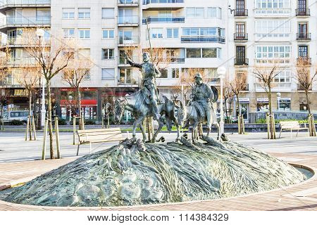 San Sebastian, Spain - Juanary 02, 2015: Sculpture Of Famous Spanish Don Quixote And Sancho Panza In