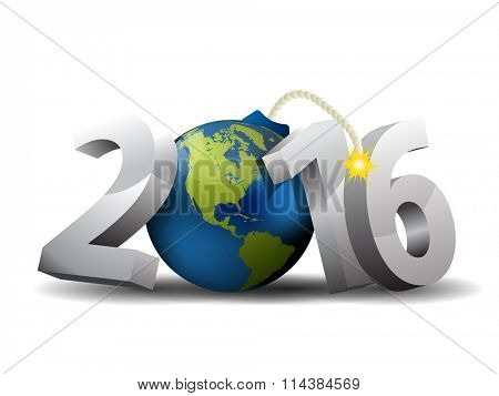 2016 Bomb - 3d text and Globe as a Bomb