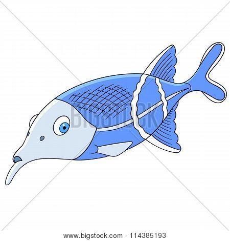 Cute Cartoon Elephant Fish
