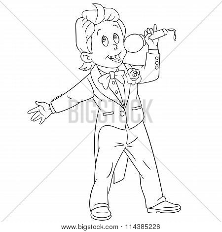Cute Cartoon Singer Boy