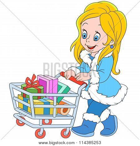 Cute Cartoon Shopaholic Girl On The Sale