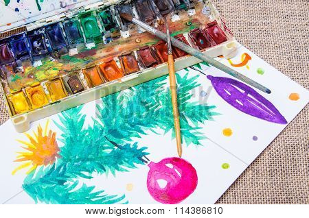 Old Professional Watercolor Paints And Painted Christmas Tree