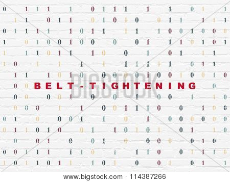 Business concept: Belt-tightening on wall background
