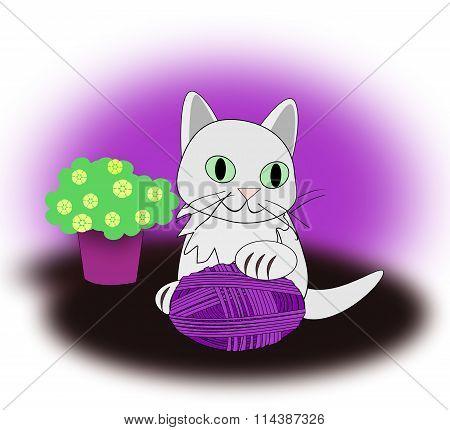 White Cat with Yarnball