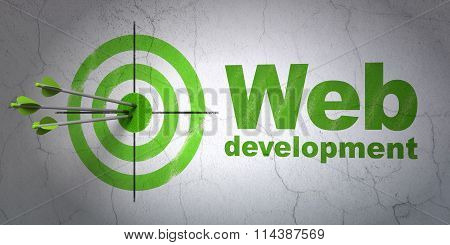 Web design concept: target and Web Development on wall background