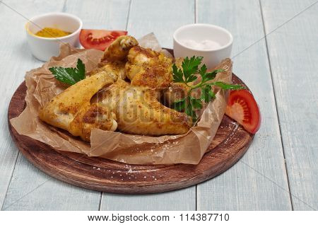 Fried Chicken Wings In A Spicy Curry Sauce