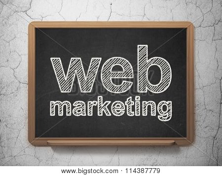 Web development concept: Web Marketing on chalkboard background