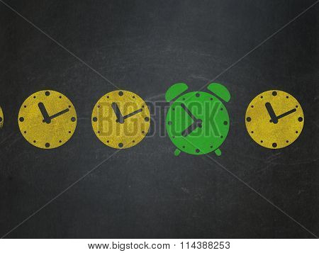 Time concept: alarm clock icon on School Board background