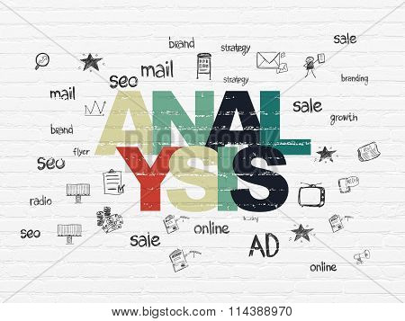 Advertising concept: Analysis on wall background
