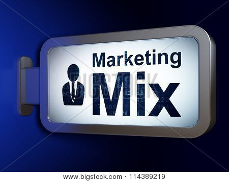 Marketing concept: Marketing Mix and Business Man on billboard background