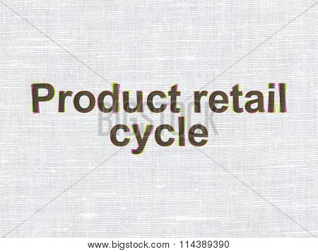 Advertising concept: Product retail Cycle on fabric texture background