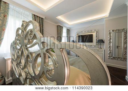 Decorative Headboard In The Interior Of The Bedroom