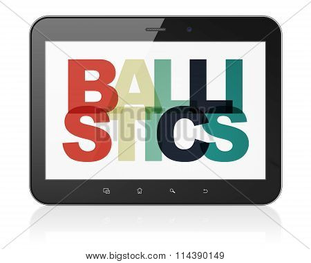 Science concept: Tablet Computer with Ballistics on  display