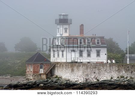 Rose Island Lighthouse In Newport's Fog
